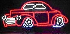1941 Red Willys Hot Rod Neon Sign