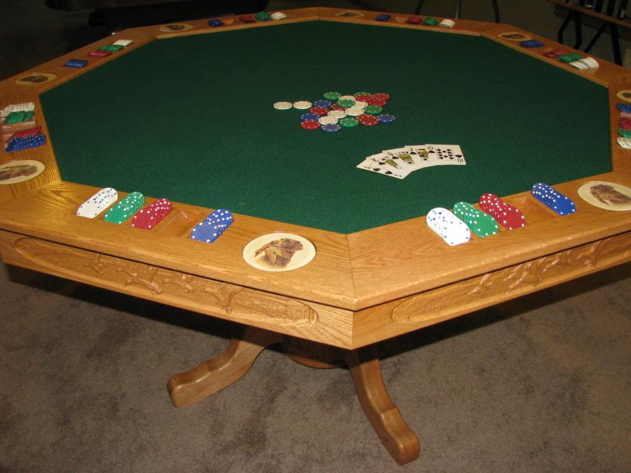 Poker Table with chips and cards