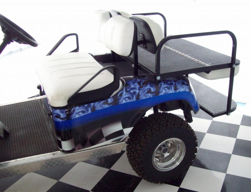 Wrapped Blue Flames Seat Down Cart