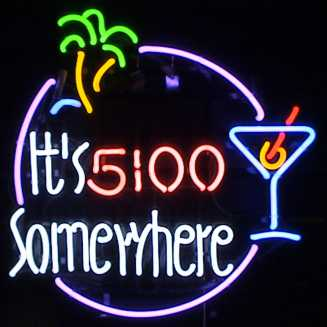 Its 5:00 Somewhere Palm & Martini Glass Neon Sign