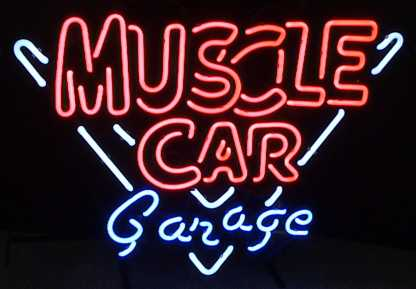 Muscle Car Garage Red Blue Neon Sign