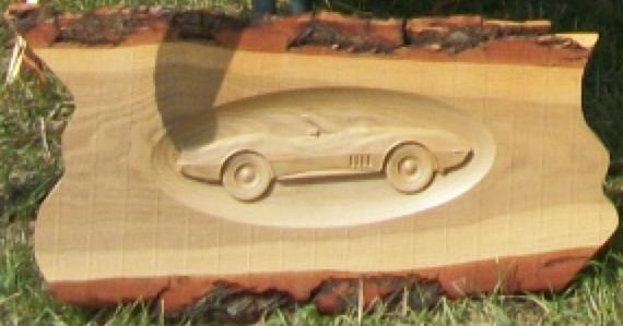 Car on Rustic Wood