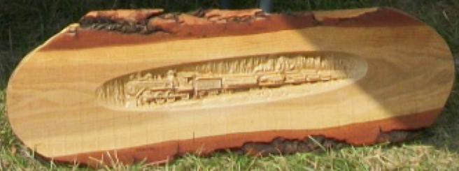 Train on Rustic Wood