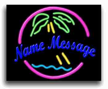 Custom Palm Tree W/Circle and Water CN102 Neon