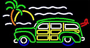 Green Woody Wagon w/Palm Neon Sign