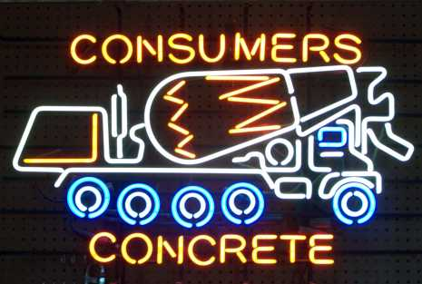 Consumers Concrete Mixer Neon Sign